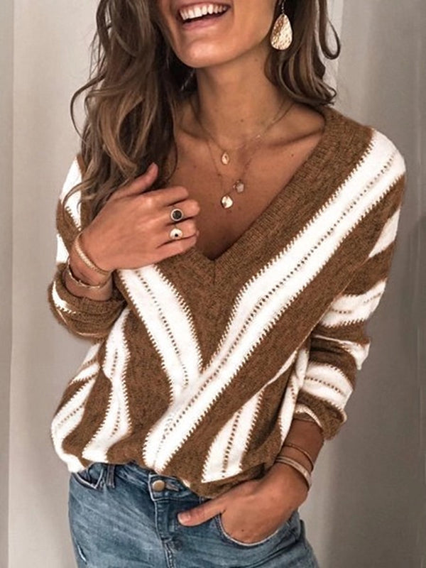 V Neck Striped Geometric Pullover Long Sleeve Sweater - Luckinchic - LuckinChic.com