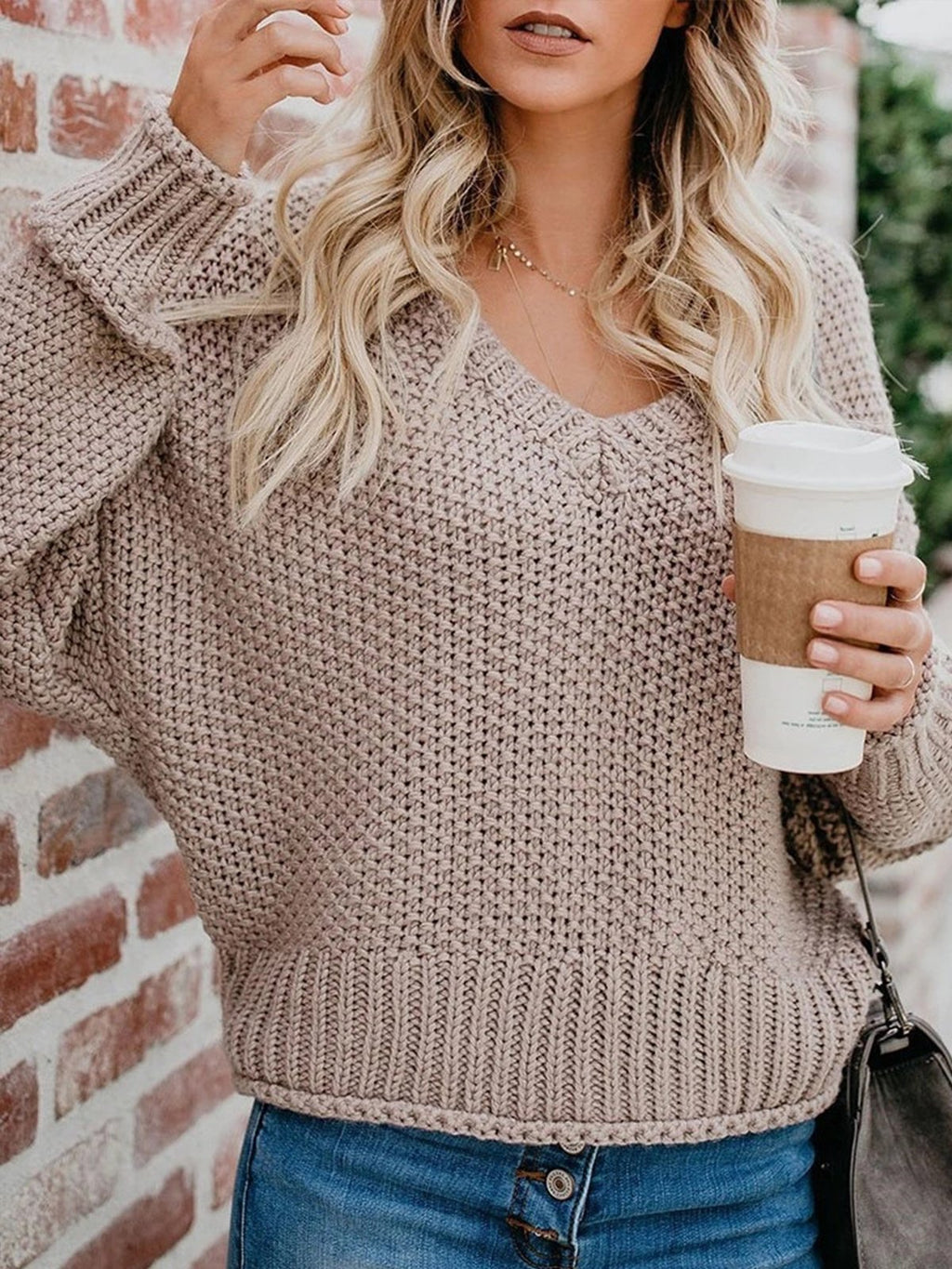 Casual Solid Color V Neck Long Sleeve Sweater - LuckinChic.com
