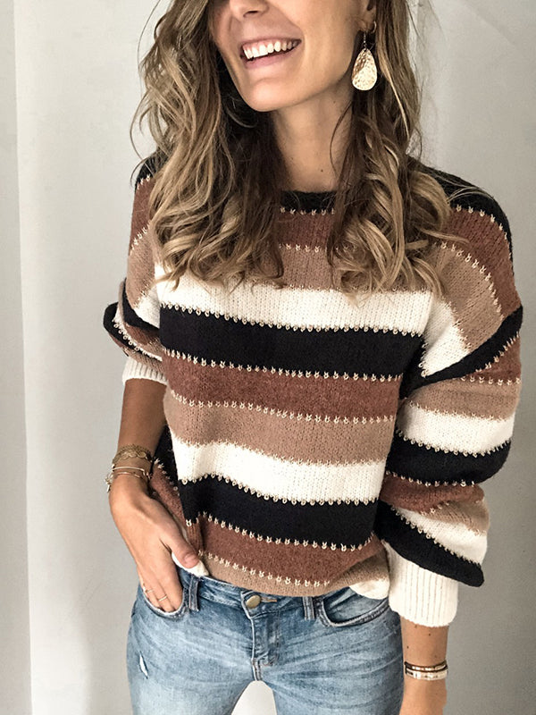 Round Neck Patchwork Long Sleeve Sweater - LuckinChic.com