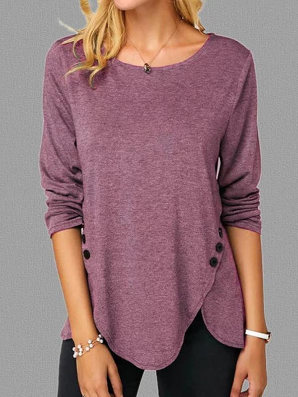 Casual Long Sleeve Round Neck Button T Shirts - Luckinchic - LuckinChic.com