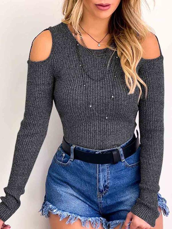 Casual Strapless Shoulder Round Neck Long Sleeve T Shirts - Luckinchic - LuckinChic.com