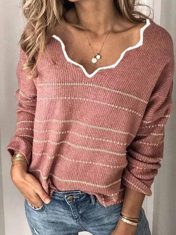 Casual V Neck Pullover Long Sleeve Sweater - Luckinchic - LuckinChic.com