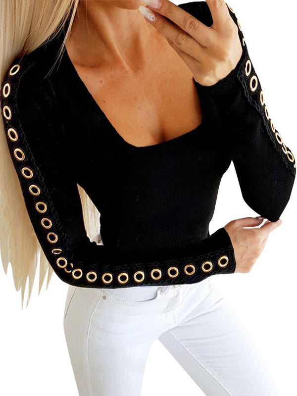 Sexy Scoop Neck Long Sleeve T Shirts - Luckinchic - LuckinChic.com
