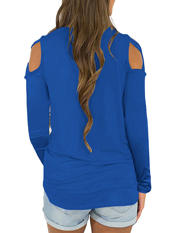 Round Neck Strapless Shoulder Casual Long Sleeve T Shirts - LuckinChic.com