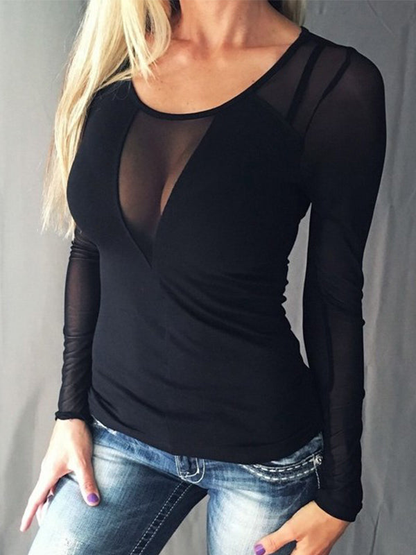 Sexy Round Neck Long Sleeve T Shirts - Luckinchic - LuckinChic.com