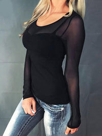 Casual Round Neck Long Sleeve Mesh Sheer See Through T Shirts - Luckinchic - LuckinChic.com