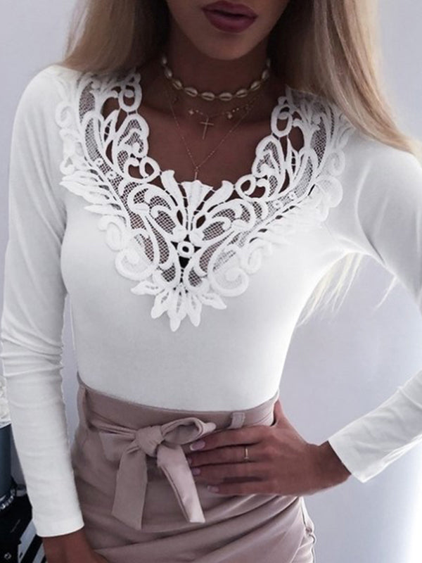 Lace V Neck Long Sleeve Sexy T Shirts - Luckinchic - LuckinChic.com