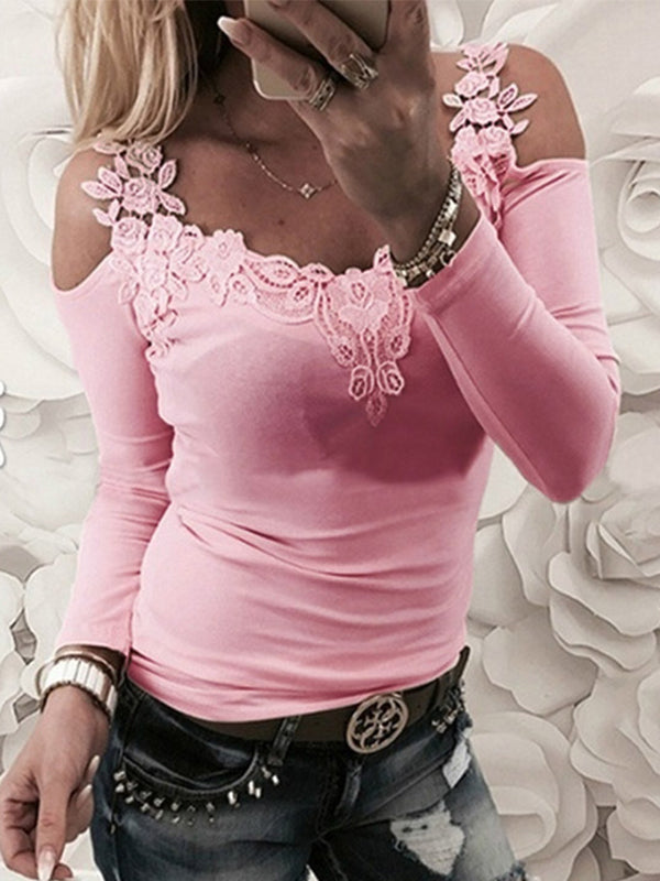 Lace Cold Shoulder Long Sleeve T Shirts - Luckinchic - LuckinChic.com