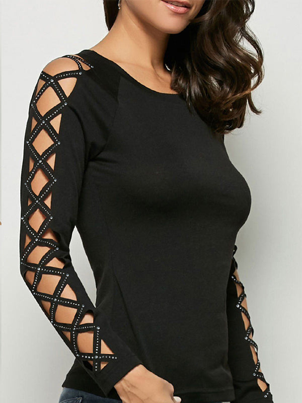 Cut Out Long Sleeve Round Neck T Shirts - Luckinchic - LuckinChic.com