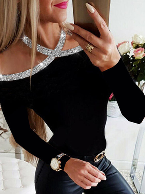 Cold Shoulder Long Sleeve Sexy T Shirt - Luckinchic