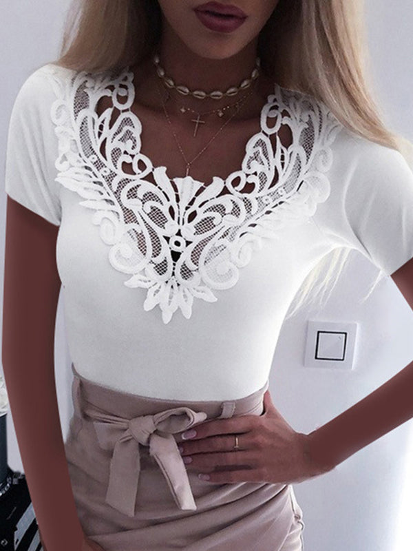 Lace V Neck Short Sleeve Sexy T Shirts - Luckinchic