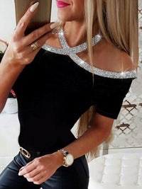 Sexy Sequins Cold Shoulder Short Sleeve T-Shirt - Luckinchic