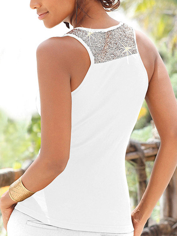 Casual Round Neck Solid Sequin Sleeveless T-Shirt - Luckinchic