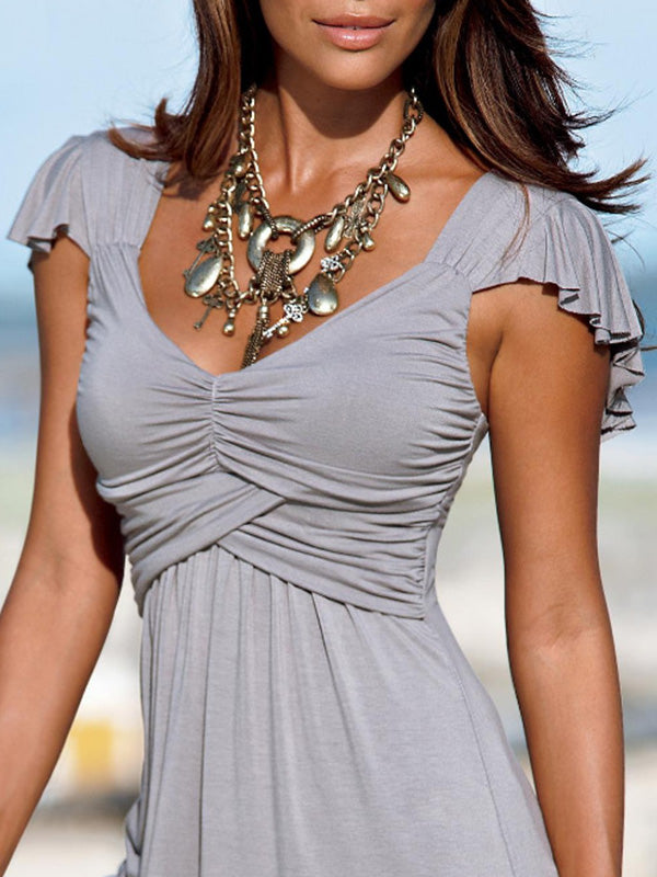 Clearance Ruched Sexy Deep V Neck Short Sleeve Solid Top - Luckinchic