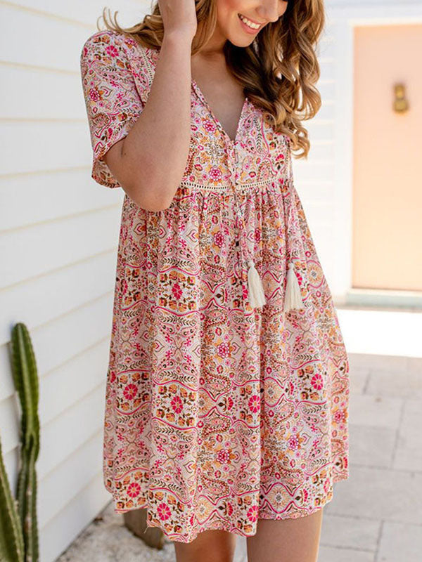 Casual Bohemian V Neck Short Sleeve Floral Print Tie Flowy Swing Dress - Luckinchic