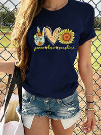 Casual Round Neck Sunflower Letter Printed Short Sleeve T-Shirt - Luckinchic