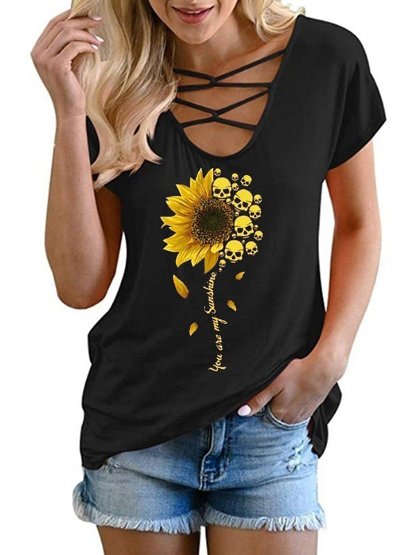 Casual Criss Cross V Neck Sunflower Printed Short Sleeve T-Shirt - Luckinchic
