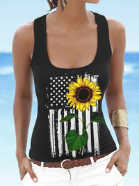 Casual Round Neck Printed Sunflower American Flag Tank  Top - Luckinchic