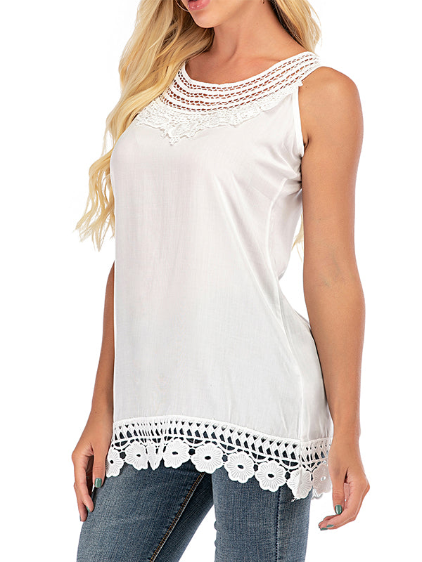 Solid Casual Camisole Neckline Sleeveless Blouses - Luckinchic