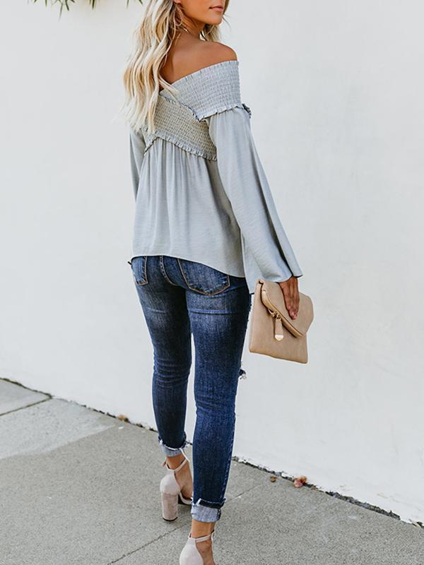Casual Elastic Off Shoulder Flare Long Sleeve Blouses