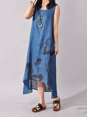 Crew Neck Asymmetric Floral Casual Printed Linen Dress