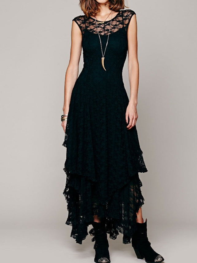 Lace Sleeveless High low Asymmetrical Maxi Dress