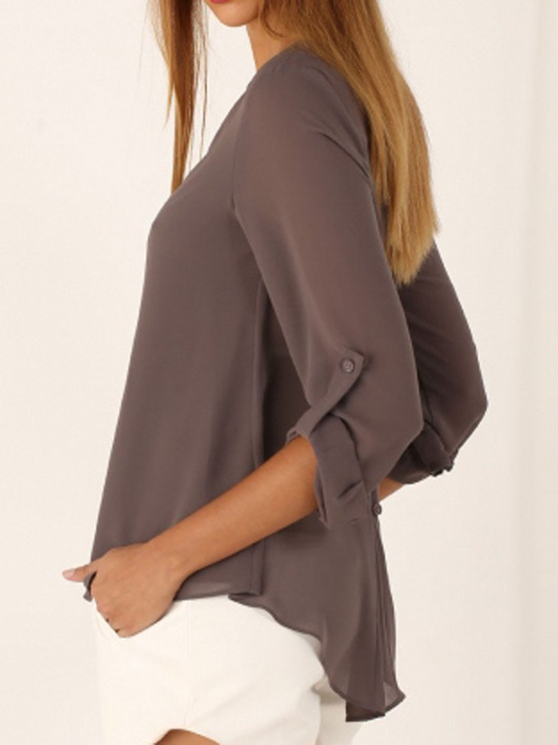 Clearance - V Neck Button Design Asymmetric Hem Blouses - Luckinchic - LuckinChic.com