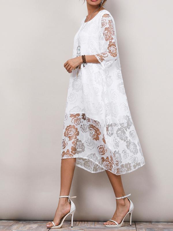 Solid Lace 3/4 Sleeves Midi Dress