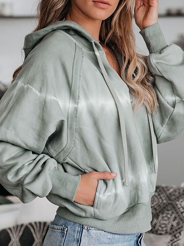 Casual Round Neck Tie Dye Printed Hooded Long Sleeve Top - Luckinchic