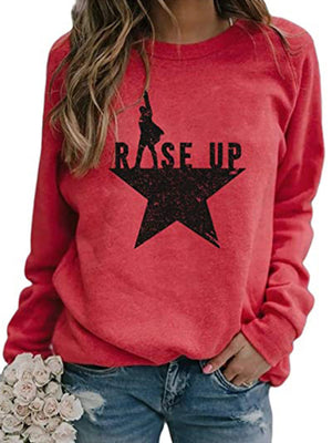 Casual Round Neck Star Letters Print Loose Pullover Long Sleeve Top - Luckinchic