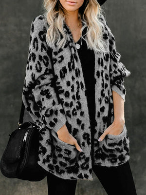 Casual Long Sleeve Open Front Leopard Print Knitted Cardigan Sweater With Pockets - Luckinchic
