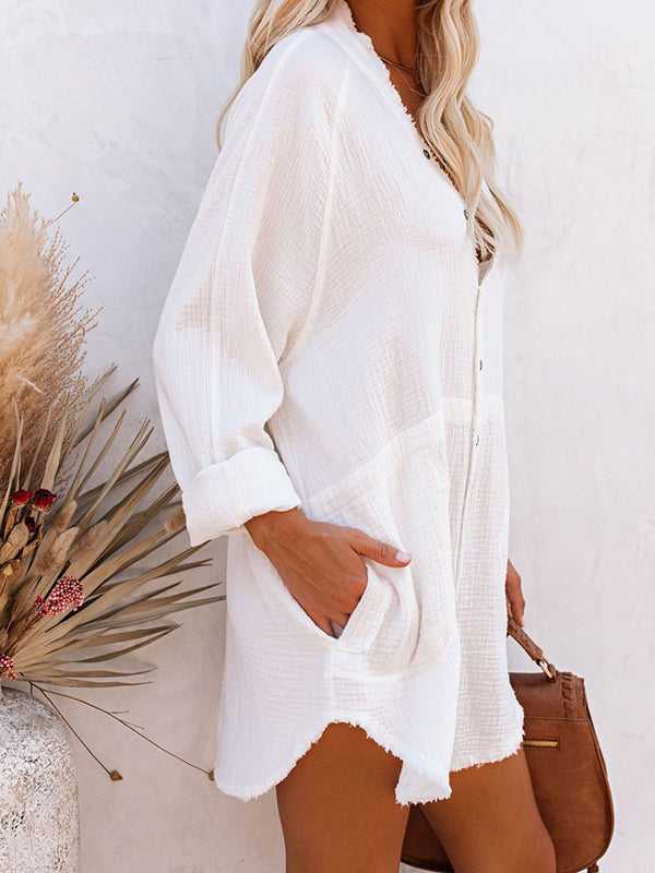 Casual V Neck Solid Color Tassels Long Sleeve Shirt Dress - Luckinchic