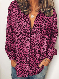 Casual Collared Leopard Print Long Sleeve Blouse - Luckinchic