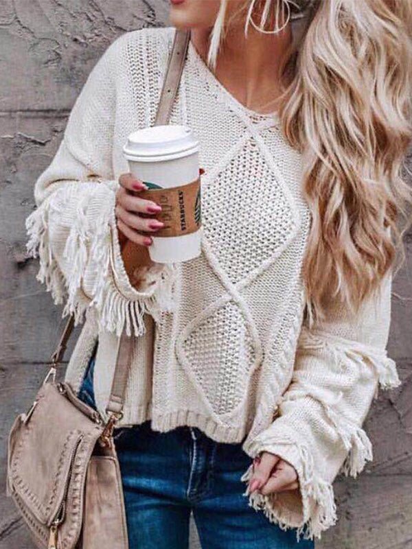 Clearance - Knitted Crew Neck Long Sleeve Solid Sweaters