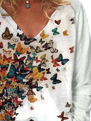 Casual V Neck Long Sleeve Butterfly Printed T-Shirt Top - Luckinchic