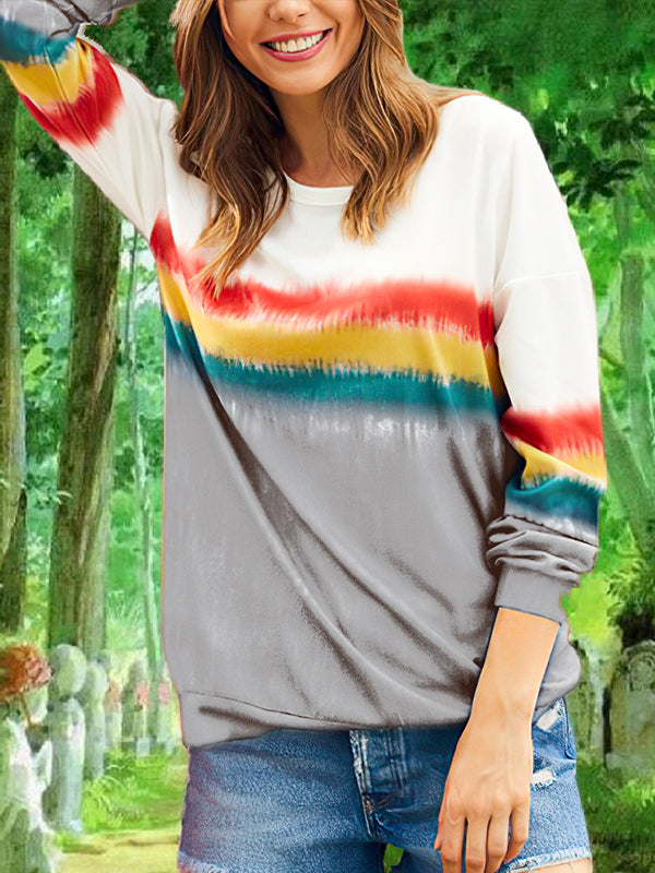 Leisure Round Neck Striped Long Sleeve T Shirt