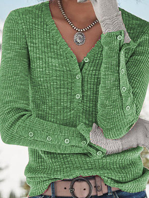 Casual V Neck With Button Long Sleeve Thin Sweater Top - Luckinchic