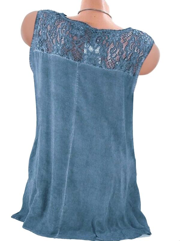 Faded Wash Lace Patchwork Shoulder Sleeveless V Neck Tank Blouse