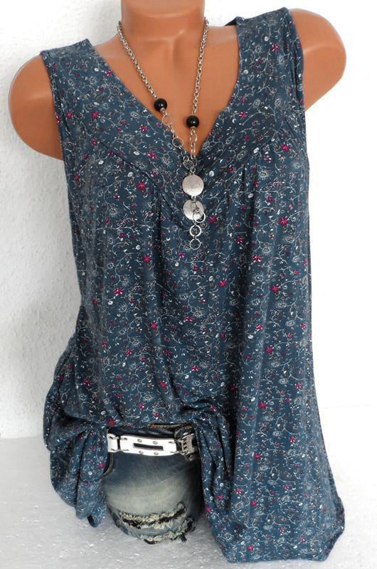 Print Floral Sleeveless V Neck Casual Blouse