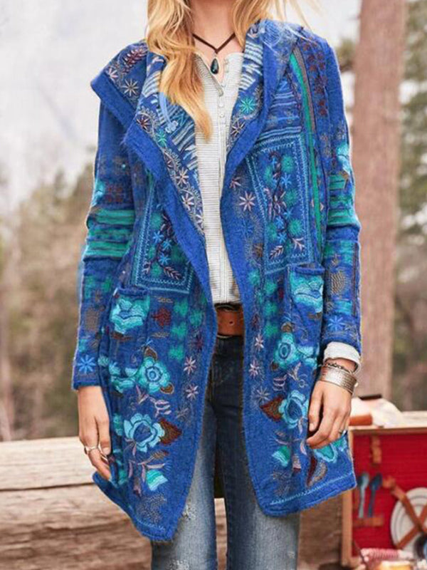 Casual Floral Printed Long Sleeve Coat - Luckinchic