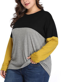 Casual Round Neck Color Block Patchwork T-Shirt Plus Size Top - Luckinchic