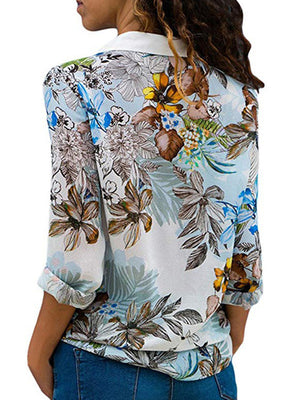 Casual V Neck Chiffon Printed Patchwork Long Sleeve Shirt - Luckinchic