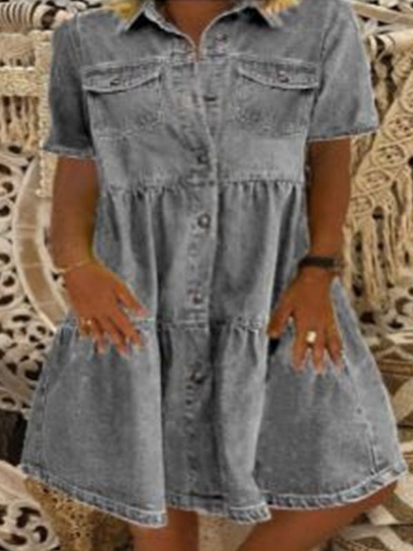 Casual Collared Denim Short Sleeve Button Pocket A Line Dress - Luckinchic