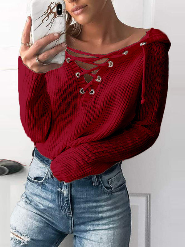 Lace Up V Neck Solid Loose Short None Sweaters