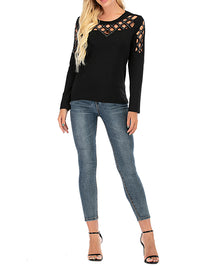 Round Neck Hollow Out Long Sleeve T Shirts - Luckinchic