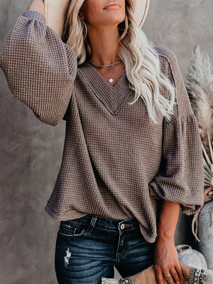 Casual V Neck Loose Knit Sweater Lantern Sleeve Top - Luckinchic