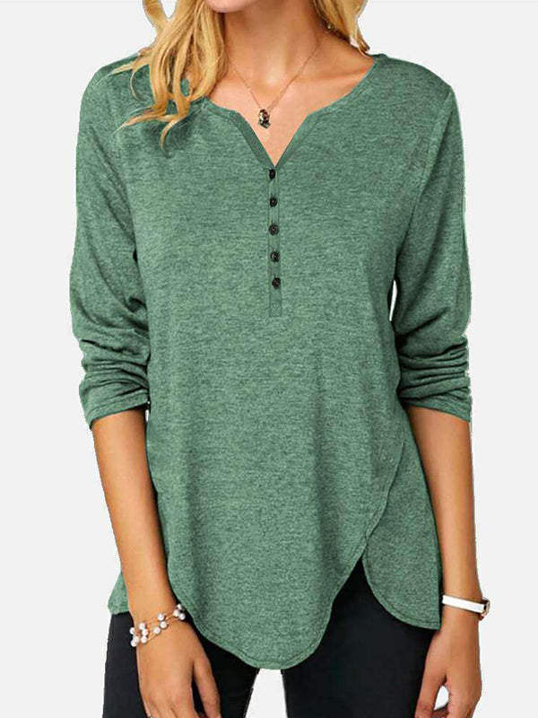 Casual V Neck Irregular Solid Color Long Sleeve Single-Breasted T-Shirt Top - Luckinchic