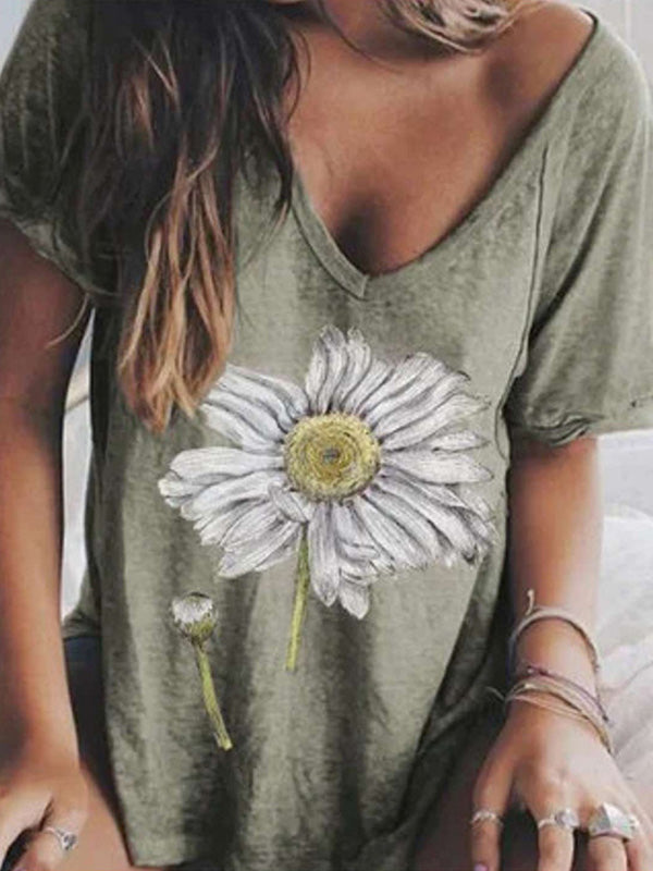 Casual V Neck Floral Printed Short Sleeve T-Shirt - Luckinchic