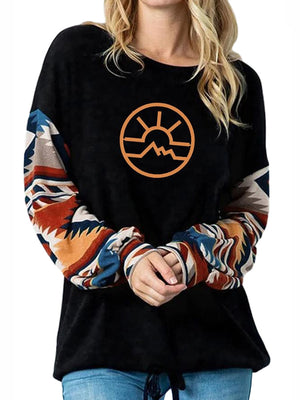 Casual Round Neck Letter Print Loose Pullover Long Sleeve Top - Luckinchic