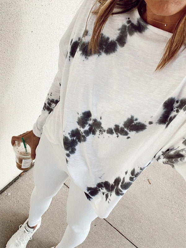 Casual Round Neck Tie Dye Long Sleeve T-Shirt - Luckinchic